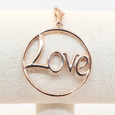 Kilkenny Silver Rose Gold Plated Sterling Silver Love Pendant