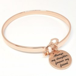 Sterling SIlver Rose Gold Plated Bangle Always My Mother Forever My Friend