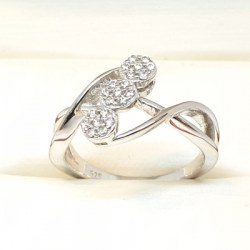 Sterling silver ring with clear colour cubic zirconia stones