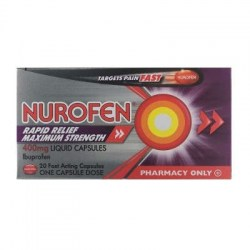 Nurofen Rapid Relief Maxium Strength 400mg Liquid 20 Capsules.