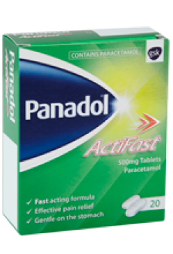 PANADOL ACTIFAST 500mg TABLETS PARACETAMOL 20