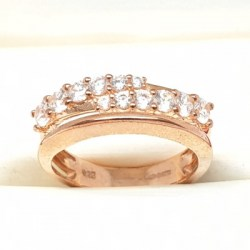 Rose Gold Plated Sterling Silver Ring with Cubic Zirconia Stones in a Layered Design