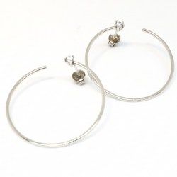 Sterling Silver Hoop Earring with Clear Cubic Zirconia Earring