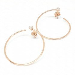 Sterling Silver Rose Gold Plated Hoop Cubic Zirconia Earring