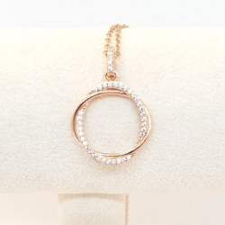 Kilkenny Sterling Silver Rose Gold Plated Pendant with Clear Coloured Cubic Zirconia Stone