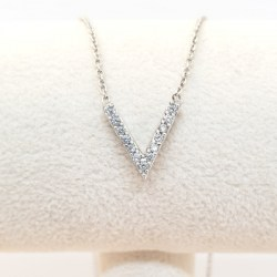 Kilkenny Sterling Silver V Pendant with Cubic Zirconia Stones