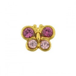 Studex 9ct Yellow Gold Butterfly Rose/Light Rose ear Piercing
